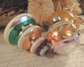 Vintage Christmas Ornaments in Silver, Gold and Green / Set of Three / Shiny Brite / Hand Painted / Christmas Tree Ornaments