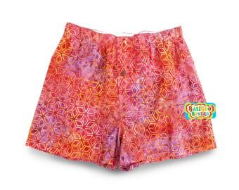 Women Pajama Short, Pink Pajama Sleep Short, Pink Womens Shorts, Cotton Batik Sleep Short