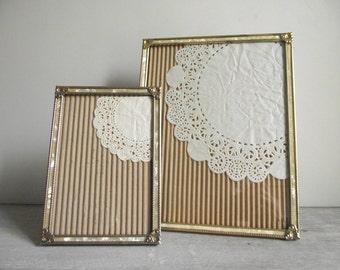 Ornate Metal Photo Frames / Gold Tone with Faux Mother-of-Pearl / Set of 2 Vintage Frames / Vintage Wedding Decor / 5 x 7 & 8 x 10 Frames