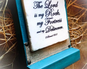 The Lord is my Rock Stone on Wood with Platform