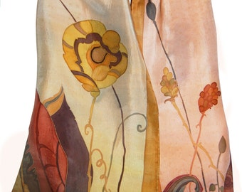 Silk Scarf Hand Painted Floral Autumn Ocher Pink Olive Green. Original Painting on Silk. Fall Fashion. Gift for her. French Silk Dyes