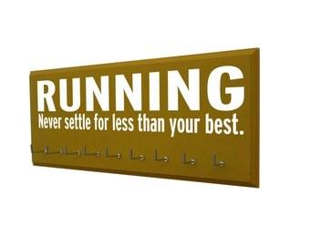 Running, Never settle for less than you best. Running gifts, Men's running medals display,  for avid runner, motivational medal hangers