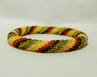 Falling Leaves Spiral Seed Bead Crochet Bangle - Ready to Ship
