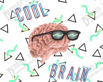 "Cool Brain Art Print, 8""x8"", sunglasses, rad, neon, 90s, 80s, shades"