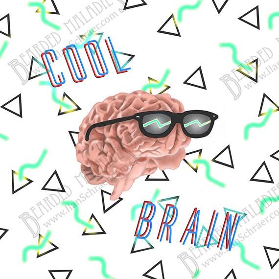 cool brain art print 8x8 sunglasses rad neon