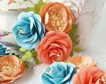 Corsages - Boutonnieres - Paper Flowers - Weddings - Bridal Shower - Baby Shower - Coral - Set of 3 - Made To Order