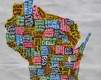 Wisconsin, 40cm X 50cm, hand made map, free postage