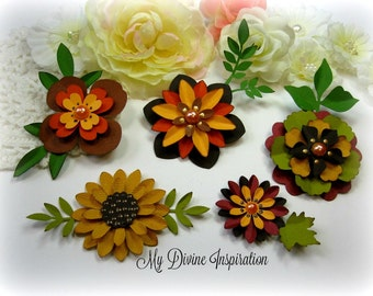 Fall Paper Embellishments and Fall Paper Flowers for Scrapbooking Cards Mini Albums Tags and Papercrafts