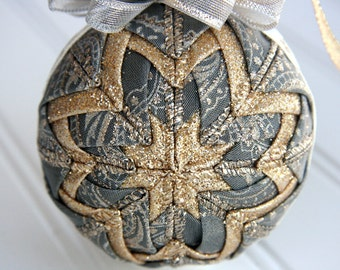 Grey, Silver and Gold Quilted Christmas Ornament Ball - Platinum Paisley