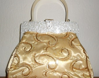 Vintage 1950s pearlized lucite & gold-satin quilted satchel