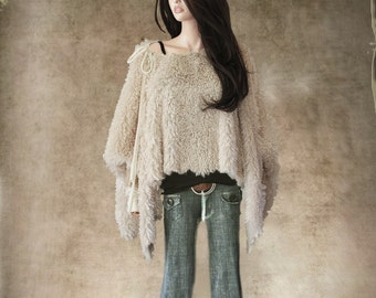 Cape faux fur/poncho pearl women/cover up soft long hair