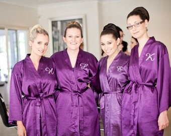 Bridesmaid Robes Purple wedding robes bridesmaid silk robe dressing gown personalized silk robe kimono robes floral robe bridal robe plum