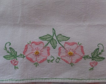 Vintage Hand Embroidered Pink Pansy Pansies Floral Garden Cotton Tea Towel