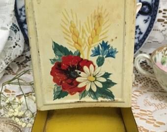 Vintage Tin Matchbox Holder ~ Farmhouse Find! Yellow~Roses~Daisys~Wheat