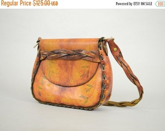 SUMMER SALE 60's Braided Leather Saddle Bag
