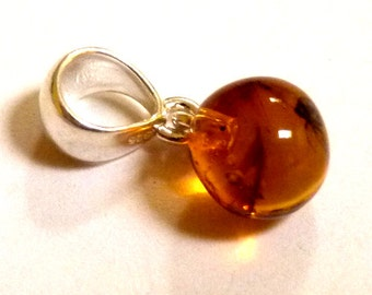 "Baltic Amber Pendant with Fossil Insect Ball Natural Honey 0.9"" 1.4 gram"