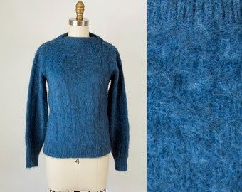 1950s 60s Vintage Blue Marled Shaggy Sweater (XS, S)