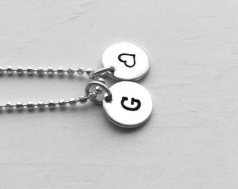 Initial Necklace with Heart Charm, Sterling Silver, Personalized Jewelry, All Letters Available, Hand Stamped Jewelry, Letter G Necklace