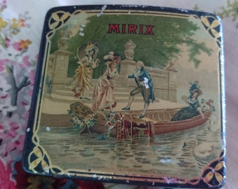 Sweet antique French apothecary chemists tin with 18th century vignette MIRIX Mal de Mer c1900