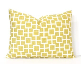 Yellow Geometric Squares Decorative Designer Lumbar Pillow Cover accent cushion hollywood regency sunshine canary sunflower lattice trellis
