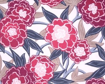 Raspberry Peony Floral Designer Pillow Cover accent flower botanical blossoms vine leaves brown white navy blue fuschia rose cranberry pink