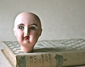 SaLe - Painted Porcelain Doll Head with Grey Glass Eyes for Altered Art, Doll Making and Doll Repair