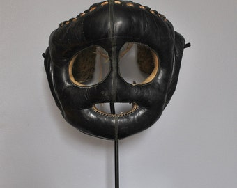 1920's Leather Boxing Face Protector with custom stand