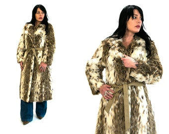 Vintage 1970's Long Faux Fur Spotted Coat Women's Medium Large High Fashion Retro Hip Vtg Vg Fall Winter Apparel