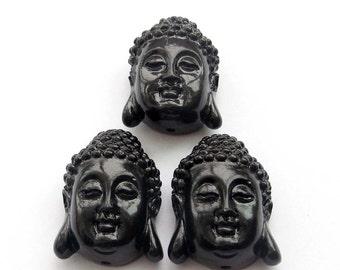 3Pieces Imitation Black Coral Tibetan Buddhist Sakyamuni Buddha Heads Beads Finding 28mm*20mm*18mm  ja605