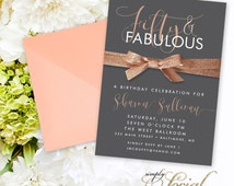 Fifty and Fabulous Birthday Invitation - Copper and Gray Rose Gold and Grey 60th 50th 40th Birthday Party Invitation with Glitter Ribbon