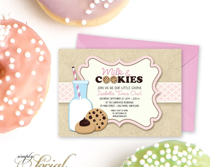 Milk and Cookies Birthday Party Invitation - Pink Girl First Birthday Kids Printable