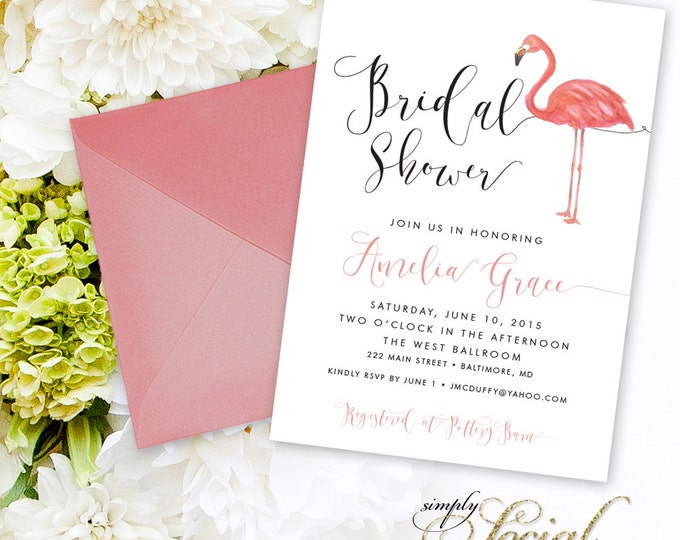 Flamingo Bridal Shower Invitation - Watercolor Flamingo and Calligraphy Bridal Shower Invitation Printable