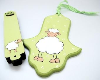 Hamsa and mezuzah set , green lamb, decorative hand painted jewish gift for nursery/ children's room, kids wall art