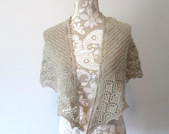 Champagne Hand Knit Shawl