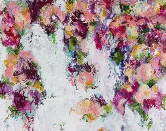 """Flowers, canvas, painting, abstract art, Time After Time, 3/4"""" thick canvas"""