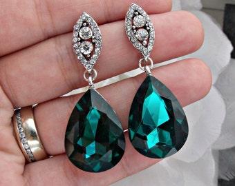 Green emerald earrings, emerald crystal earrings, rhinestone earrings,  green earrings emerald wedding earrings, bridal earrings emerald set