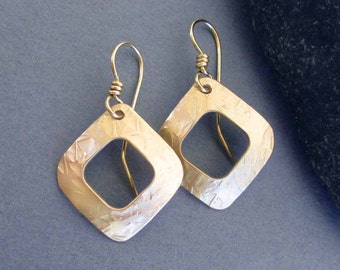 Hammered Brass Square Hoop Dangle Earrings with 14k Gold Filled Ear Wires Modern Metal Jewelry 21st Anniversary Brass Anniversary Jewelry