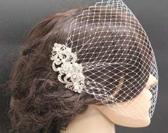 Wedding birdcage veil vintage Bridal birdcage veil pearl Wedding hair accessory Bridal hair jewelry Wedding veil Bridal hair jewelry Wedding
