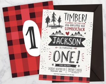 Little Lumberjack First Birthday Invitation