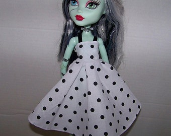 """Handmade Monster High 17"""" Tall Doll Clothes - white with black polka dots dress with black trim straps"""