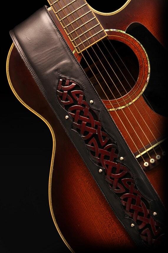 Leather Guitar Strap, Black leather guitar strap:  Celtic Crimson Guitar Strap