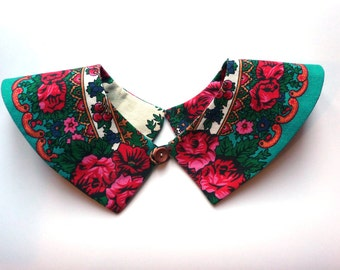 Peter Pan Collar, Detachable Collar, Collar Necklace, Blouse Collar, Floral Collar, turquoise Collar
