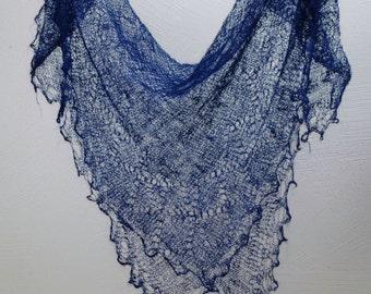 WOOL Lace Shawl ,CROCHETED Russian Handmade Goat Wool Neck Scarf Blue Warm Winter Neckwear