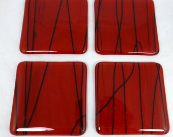 Fused Glass Coasters rich red with black detail design - set of four
