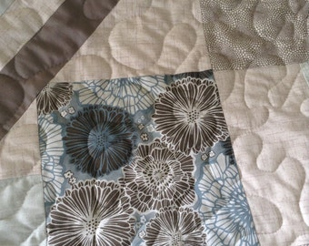 "Blue/Cream/Taupe - 54"" x 75"" - Sterling Studio by Lori Wells/Magnolia Lane by Laura Gunn -Contemporary Quilt"