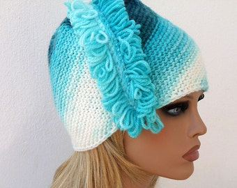 Women's knit hat. Slouchy Hat Fringe Turquoise Teal White Knitted Hat Girls Slouchy Beanie. Winter hat. Knit Beanie Scool cap. Handmade hat