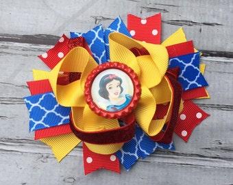 Layered Disney Snow White Hair Bow Snow White Hair Bow Snow White Birthday Bow Snow White Bow Snow White Hair Clip