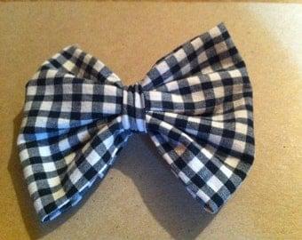 Black, White Fabric Hair Bow    50
