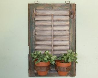 Shutter Wall Decor, Shutter Plant Holder, Shutter Planter, Vintage Shutter