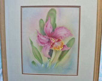Vintage 1940 Hawaiian Orchid Airbrush Painting By Tip Freeman - Honolulu